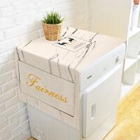 北欧麋鹿ins简约棉麻滚筒洗衣机盖布单双开门冰箱多用盖巾防尘罩