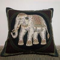东南亚风格吉象系列双面加厚棉麻刺绣花抱枕套沙发靠垫