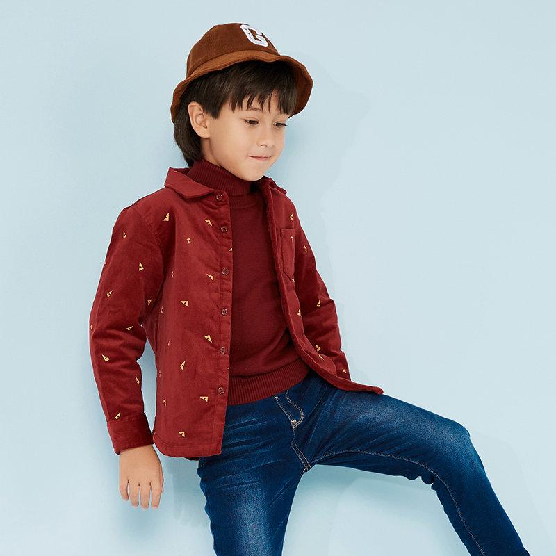 美特斯邦威旗下童装 moomoo童装男童灯芯绒夹里衬衫秋冬新款中大童儿童加绒衬衫