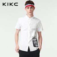 kikc短袖衬衫男2018夏季新款青年都市时尚修身印花纯棉尖领衬衣男