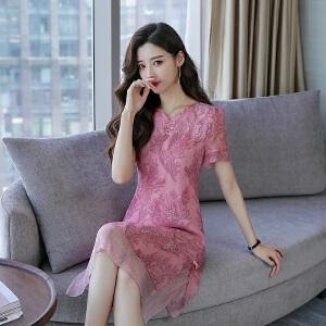 风轩衣度 2018夏季新款真丝连衣裙桑蚕丝纯色韩版修身气质优雅款 2109-15
