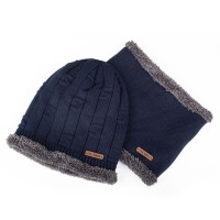 冬季毛线帽 户外防风包头帽 男士帽子 冬天针织帽 套头帽围脖
