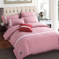 简约床上四件套全棉纯棉1.8m1.5米床单人被罩被子被套宿舍三件套4