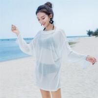 2018新款海边比基尼罩衫镂空防晒衣女中长款外搭沙滩温泉度假蕾丝泳衣外套 均码