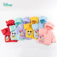【2件3折到手价:125】迪士尼Disney童装 男女童熊耳连帽羽绒服冬季新款米老鼠卡通印花保暖外套194S1194