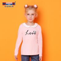 【到手参考价:35.7】铅笔俱乐部童装女童T恤2018秋冬新款儿童长袖上衣中大童娃娃领