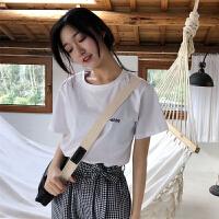 2018夏季新款韩版女学生白色短袖t恤英文字母简约宽松体恤上衣