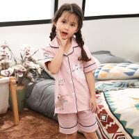 女童儿童睡衣夏季短袖亲子家居服套装小孩宝宝大童薄款空调服