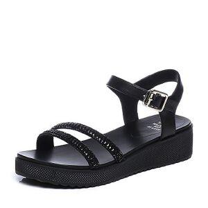 Tata/他她2018夏牛皮拼接时尚水钻一字带坡跟休闲女凉鞋FAFLABL8