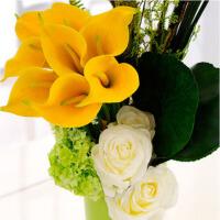 仿真花马蹄莲玫瑰组合花艺套装家居客厅陶瓷花瓶花插装饰花摆件 卷花筒马蹄莲玫瑰组合花艺