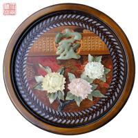 中式木雕挂画玄关装饰画现代浮雕装饰画玉石壁画墙饰玉雕画中国风 60*60 20mm厚板 独立
