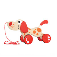 拖拉玩具儿童宝宝木质拉线车幼儿园1-3岁婴儿动物狗狗拉绳小拉车 百变小狗 百变小狗