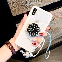 创意手表支架iphone8plus手机壳6s挂绳苹果x全包软7pXsMax/XR 7p/8plus 手表气囊白边+挂绳