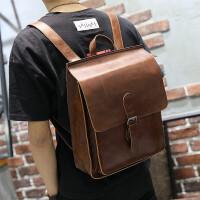 疯马皮多功能双肩包百搭时尚简约学生休闲男女旅游背包SN8716 咖啡色 全场满2件送手包