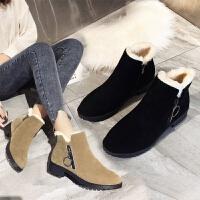 冬天女鞋2019雪地靴女新款保暖加厚短靴棉鞋防滑粗跟棉靴妈妈鞋女
