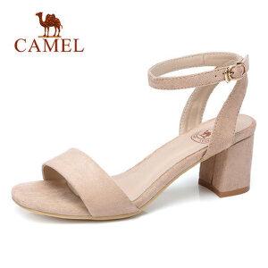 Camel/骆驼女鞋2018夏季新款一字扣粗跟凉鞋ulzzang韩版百搭鞋子高跟鞋
