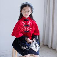 儿童唐装秋冬中国风改良汉服拜年服斗篷百褶裙复古中式民国风套装 红色