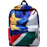 书包男时尚潮流双肩包涂鸦高中学生休闲旅行背包抽象