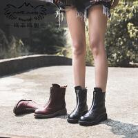 玛菲玛图复古马丁靴女英伦风女鞋靴子 季新款短靴女粗跟真皮前拉链短筒靴5751-27