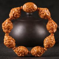 橄榄核手串 八大财神橄榄核雕刻 八方来财文玩橄榄胡手串手链男