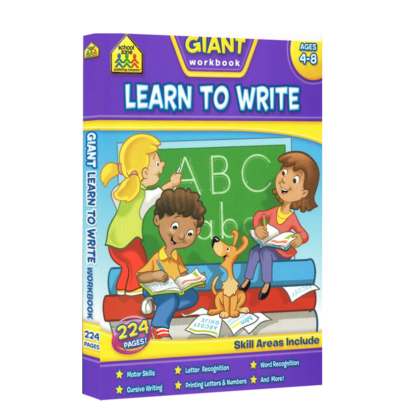 【4-8岁写作练习】School Zone Giant workbook Learn to Write 字母词汇书写练习册 英文原版
