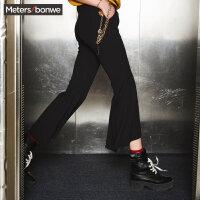 【全场2件2.5折,到手价:67.3】美特斯邦威休闲裤女秋装新款复古港风喇叭裤个性百搭裤子潮