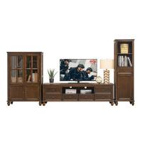 美式乡村实木家具套装客厅家具现代简约电视机柜子电视柜茶几组合 +矮柜 整装