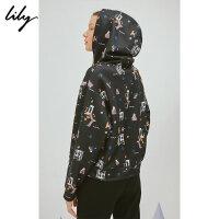 【不打烊价:194.7元】 Lily春新款女装精致刺绣连帽卫衣118340A8321