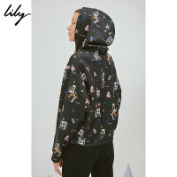 Lily春新款女装精致刺绣连帽卫衣118340A8321