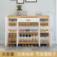 鞋柜家用北欧简约现代门厅柜实木玄关柜大容量木鞋柜进门口收纳柜