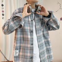 【一件一折59元】衬衫男士长袖韩版潮流百搭帅气格子衬衣春秋季休闲港风日系外套