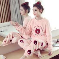 珊瑚绒睡衣女保暖秋冬款加厚韩版卡通可外穿冬季法兰绒家居服套装