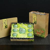 礼品陶瓷龙泉青瓷功夫茶具套装茶壶盖碗茶杯套礼盒装公司logo定制