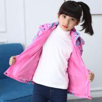 儿童户外冲锋衣加绒加厚童装女童外套春秋款三合一可拆卸女孩上衣 粉红色 可拆卸
