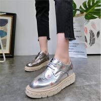 18春季新款金属色布洛克镂空厚底松糕坡跟系带休闲鞋单鞋板鞋女鞋