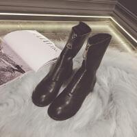 guidi前拉链女英伦风马丁靴2017冬季新款复古中筒短靴加绒骑士靴