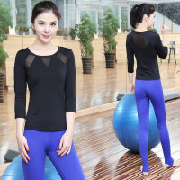 韩版女士跳操跑步运动裤显瘦瑜珈衣 新款速干健身房服瑜伽服套装女长袖T恤踩脚裤