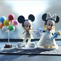 米奇车内饰品摆件创意情侣车内装饰漂亮告白气球汽车饰品车内摆件 白衣米妮奇摆件+8球 送钻大垫