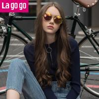 【618大促-每满100减50】Lagogo2018春季新款时尚长袖针织衫女套头修身打底衫休闲运动毛衫