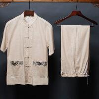 亚麻唐装男短袖爷爷老人衣服爸爸夏装套装6070岁中老年人中式男装