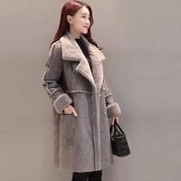 冬季新款羊羔毛外套女加厚保暖大衣中长款鹿皮绒棉衣
