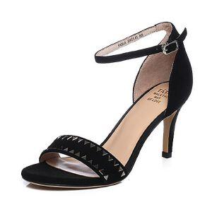 Tata/他她2018夏羊皮革绒面一字带通勤细高跟女凉鞋FXDLABL8