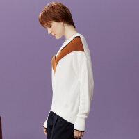 【2件2.5折到手价:47.5】美特斯邦威甜美毛衣女秋装新款学院百搭慵懒风撞色针织毛衫