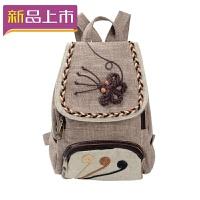 2018韩版复古文艺范女士帆布双肩包民族风休闲旅行旅游迷你小背包可爱