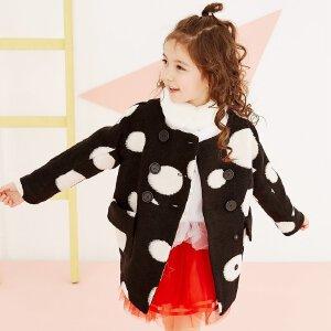 【2件2.5折到手价:86.5】美特斯邦威童装冬季女童双排扣夹棉波点长袖加厚保暖呢外套女