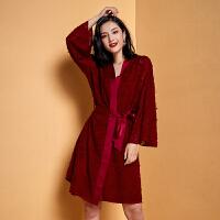 性感长袖睡衣睡袍套装吊带睡裙两件套睡衣女本命年红女秋冬睡衣