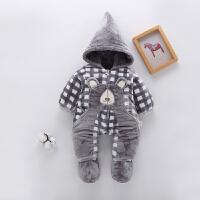 新生儿衣服棉袄婴儿连体衣秋冬季加厚棉衣哈衣连脚宝宝外出爬服潮
