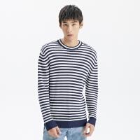 【2件1.5折价:82.4,可叠券】MECITY男装纯棉时尚条纹海军风圆领套头毛衣针织衫