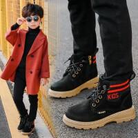 【活动价:96】儿童马丁靴男童2019新款秋冬英伦风女童靴子真皮加绒短靴亲子鞋潮