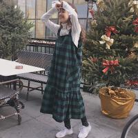 春装连衣裙2018新款韩版复古学院风宽松显瘦大口袋格子背带裙学生